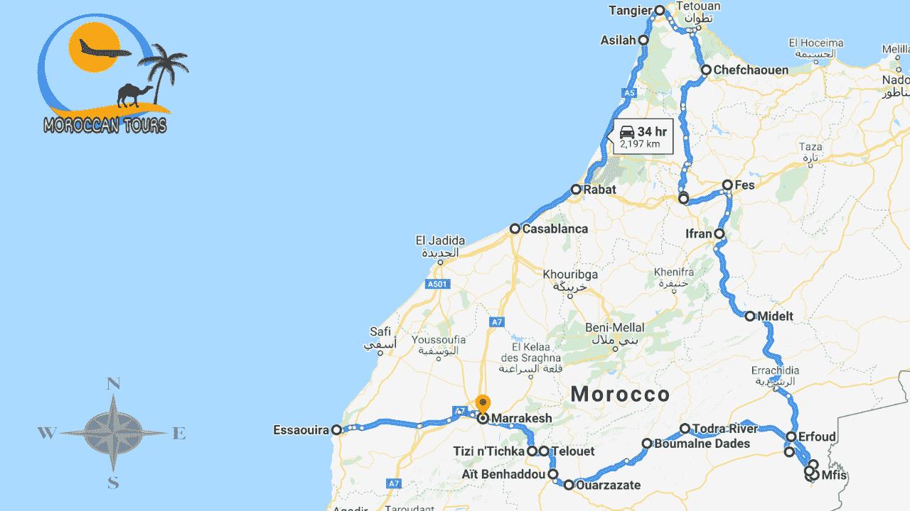 Morocco / Marruecos / Marrocos / Marocco, Tour / ruta / viagem / viaggio, itinerary / itinerario : Casablanca 14 Days / Dias / Giorni /